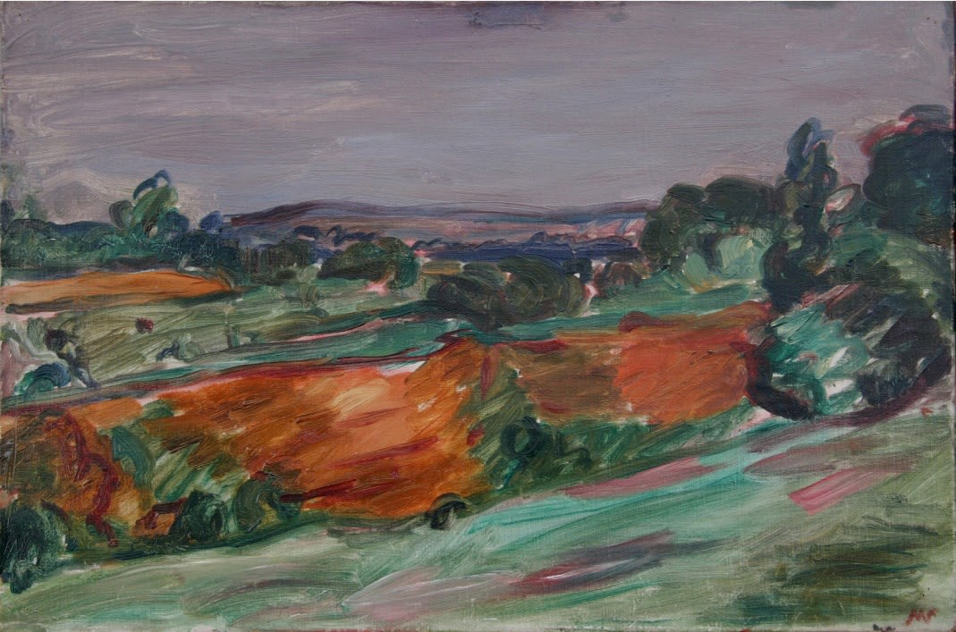 Woolhope Landscape, 1932 oil on canvas 14 x 21 inches (35 x 53cm) inscr. MS b.r., 'Woolhope Hereford 32' verso