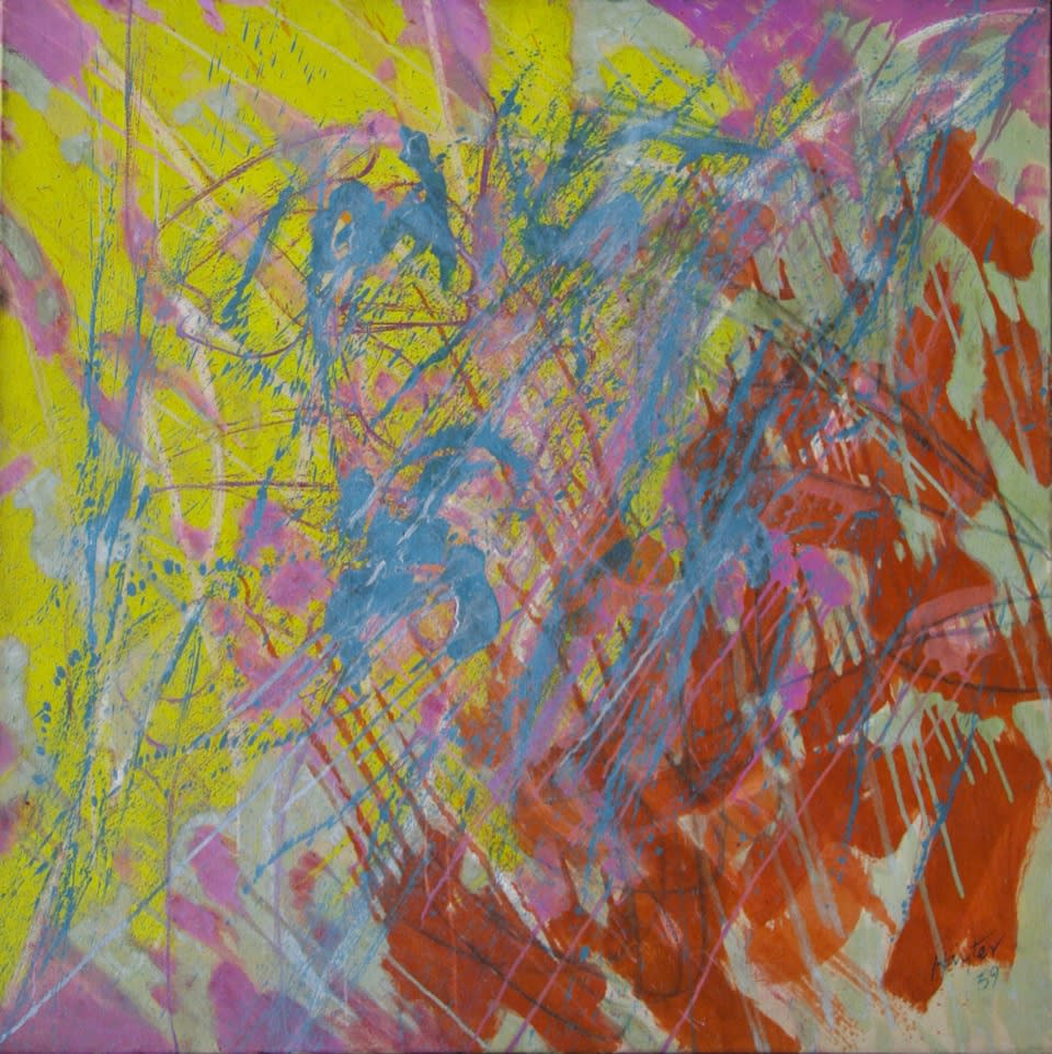 Stanley William Hayter, Pink/ Blue Abstract Composition, 1959