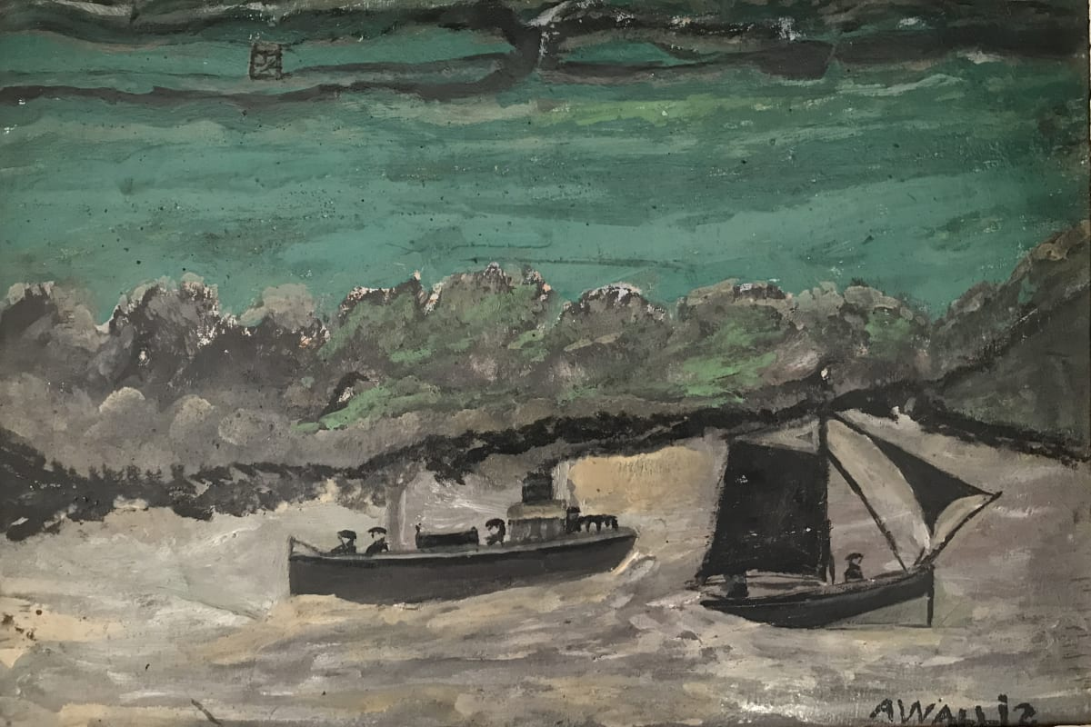 Alfred Wallis, Cutter and Sail boat in grey harbour
