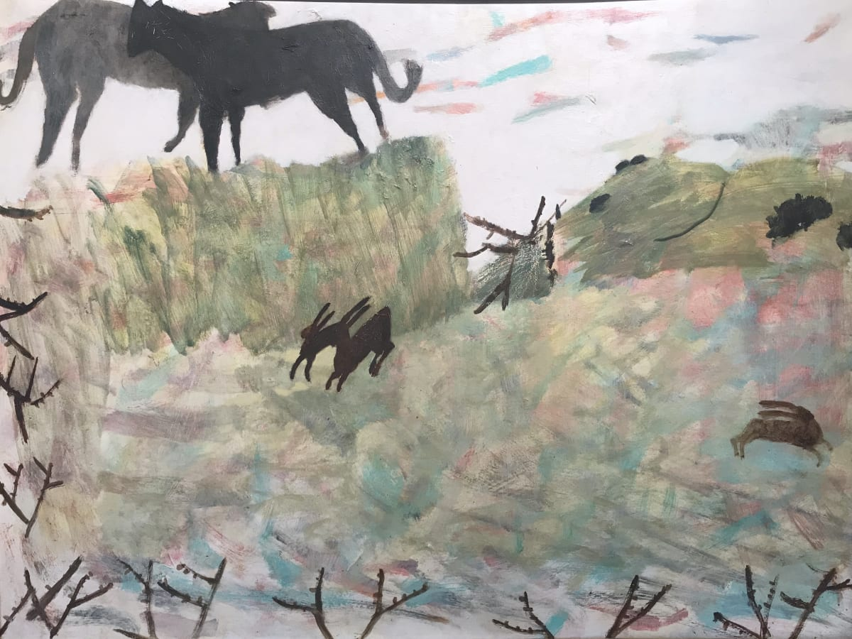 Mary Newcomb, Dogs and Hares in March, 1978