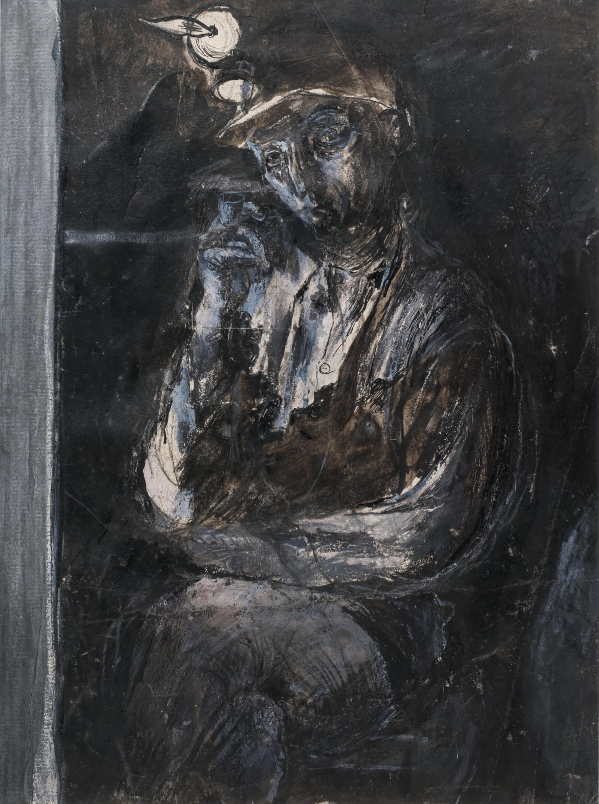Graham Sutherland, Tin Mine: Miner resting in a wall cavity, 1942