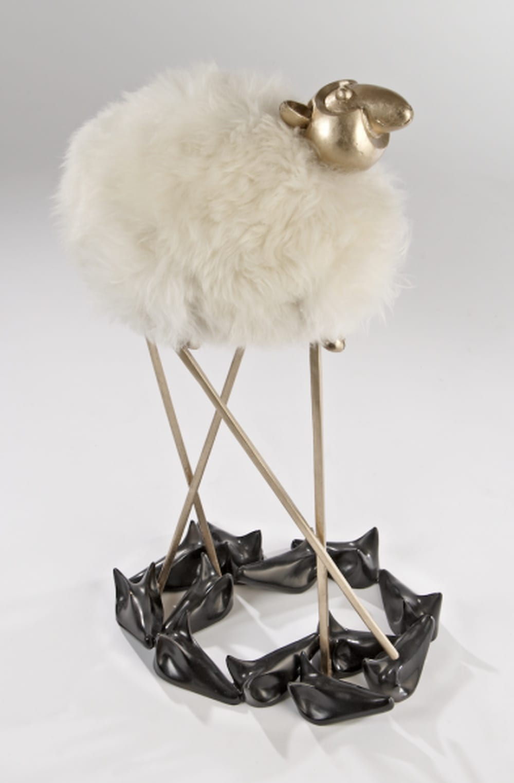 Hubert Le Gall, Sheep Jumping Wolf Lamp, 2012