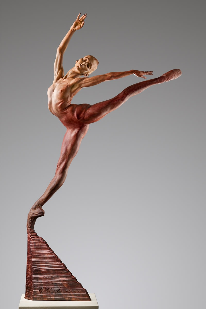 "Sissone, Half Life, Red, 2016 Bronze 63""H x 25""W x 12""D Richard MacDonald"