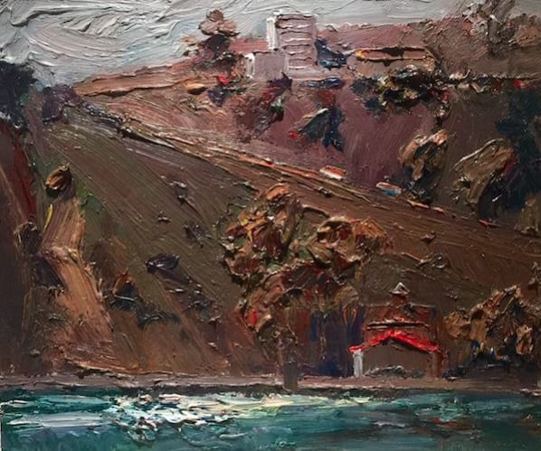 "Dana Point II, 2015 Oil on rag board 21.50"" H x 23.50"" W (14"" H X 16"" W without frame) Jian Wang"