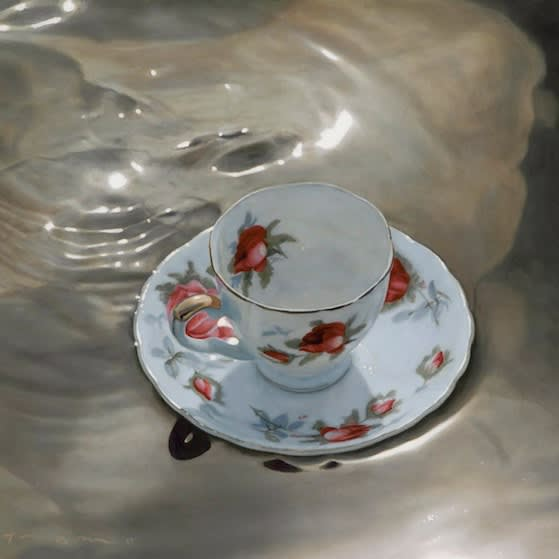 "Tumultuous Tea, 2009 Oil on Panel 17""H x 18""W Tom Betts"