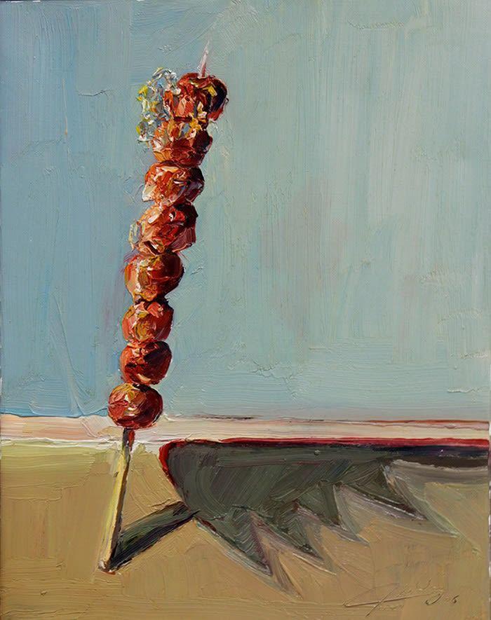 """Fruit Stick, 2006 Oil 18.25""""H x 14.50""""W Jian Wang"""