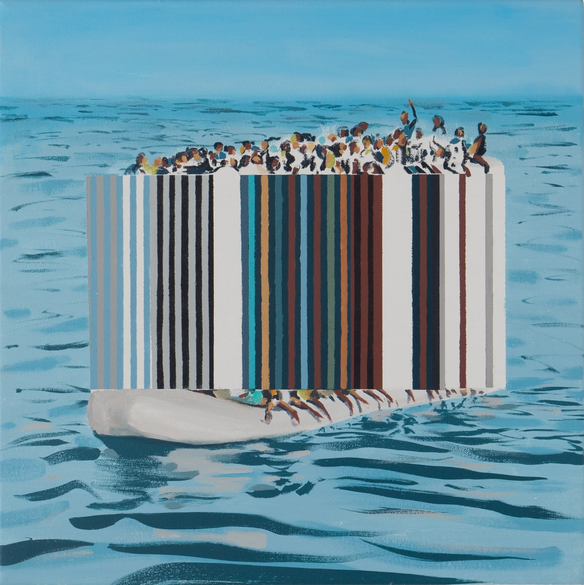 Darren Coffield, Against the Tide, 2019. Acrylic on canvas, 100 x 100 cm.
