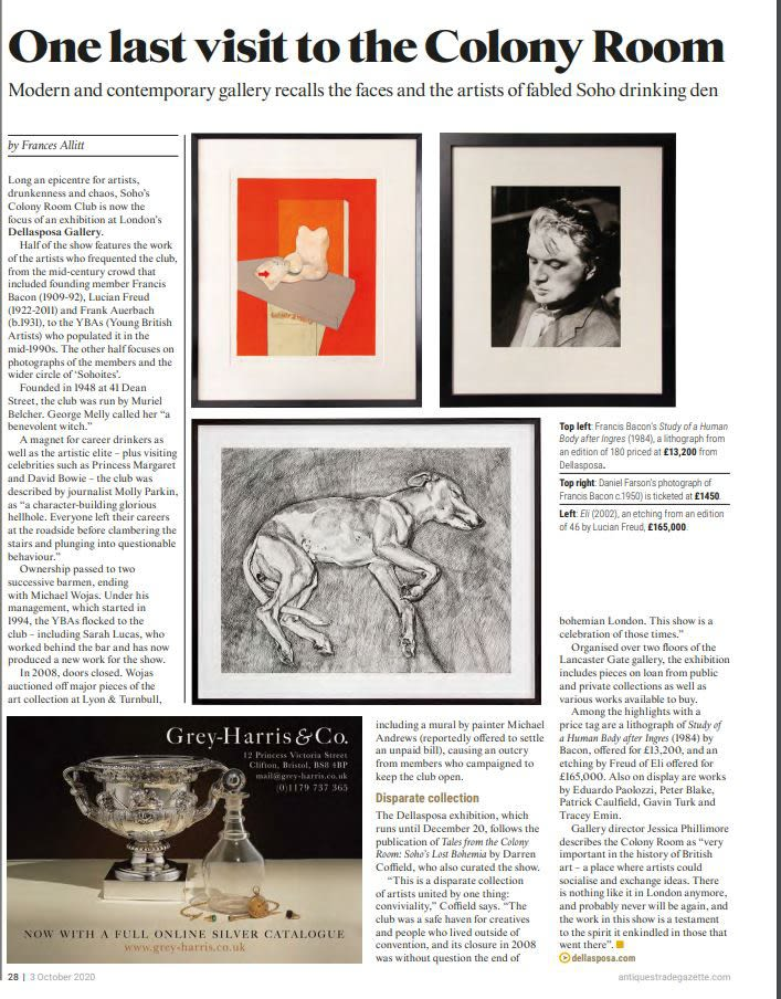 Daniel Farson's photograph of Francis Bacon (c.1950) is ticketed at £1450 at the Dellasposa Gallery.