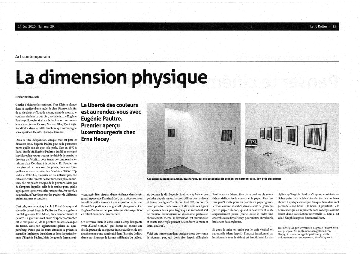 Eugenie Paultre_la dimension physique_review_land_journal_luxembourg_erna hecey