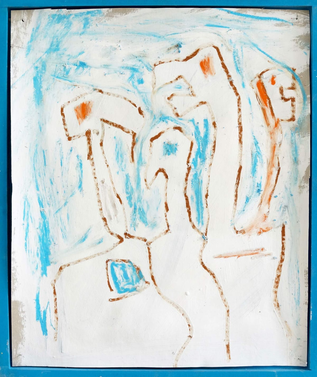 Talking heads, drawing and painting in blue, white, birds, artwork by ernst koslitsch online viewing room,