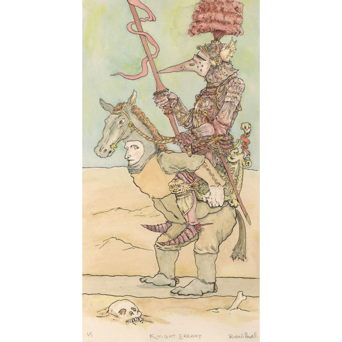 Knight Errant 2018; signed, numbered and titled; edition of one lithograph and watercolour | 25 x 15 cm