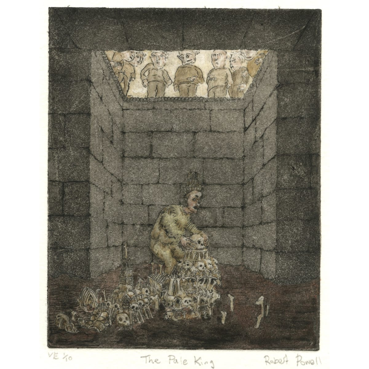 The Pale King or Diogenes Reassembles a Wise Man 2018; signed, numbered and titled; edition of ten etching and watercolour | 12.5 x 10 cm