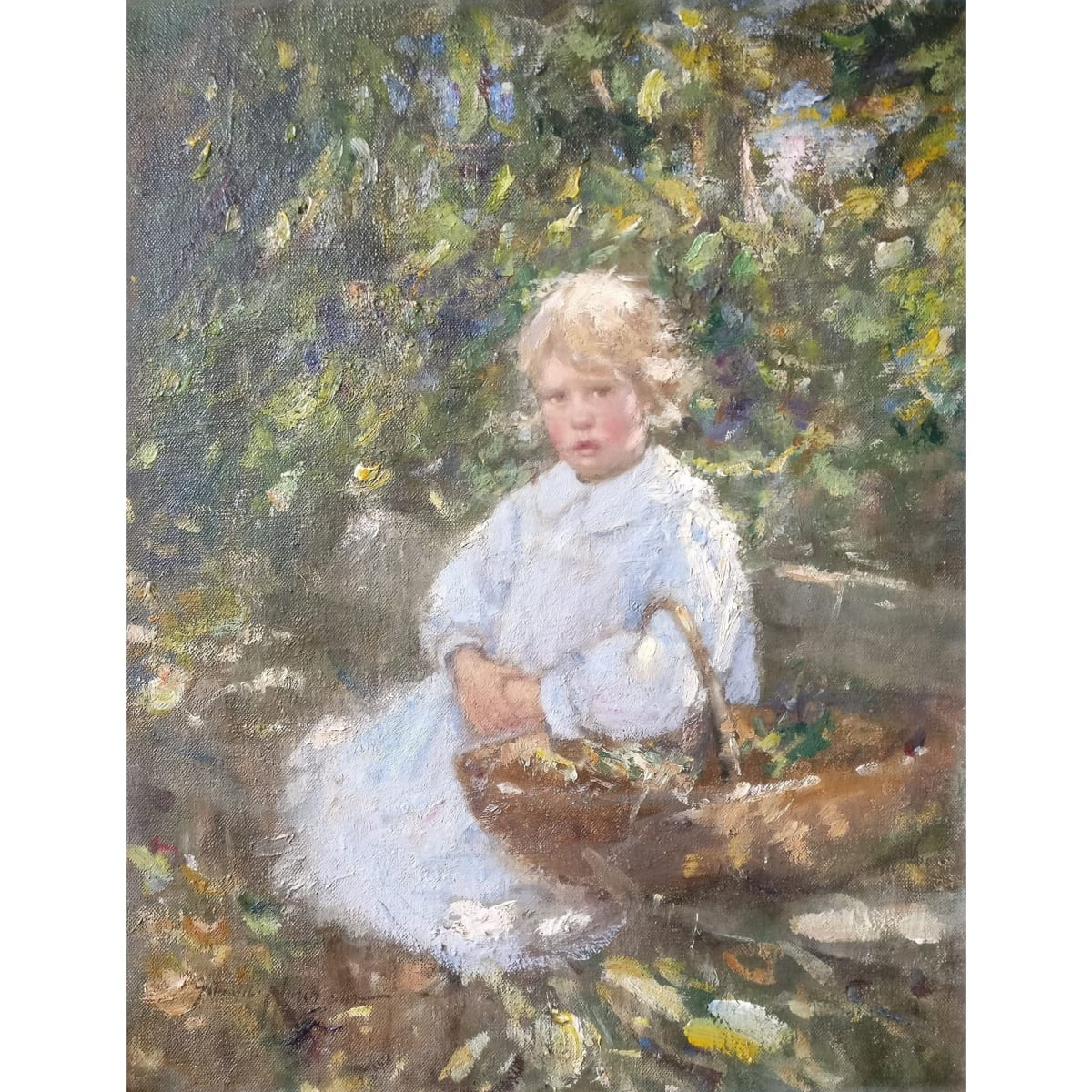 Robert Gemmell Hutchison Sunshine and Shadow - the artist's daughter signed oil on canvas laid on board 46.4 x 35.5 cm