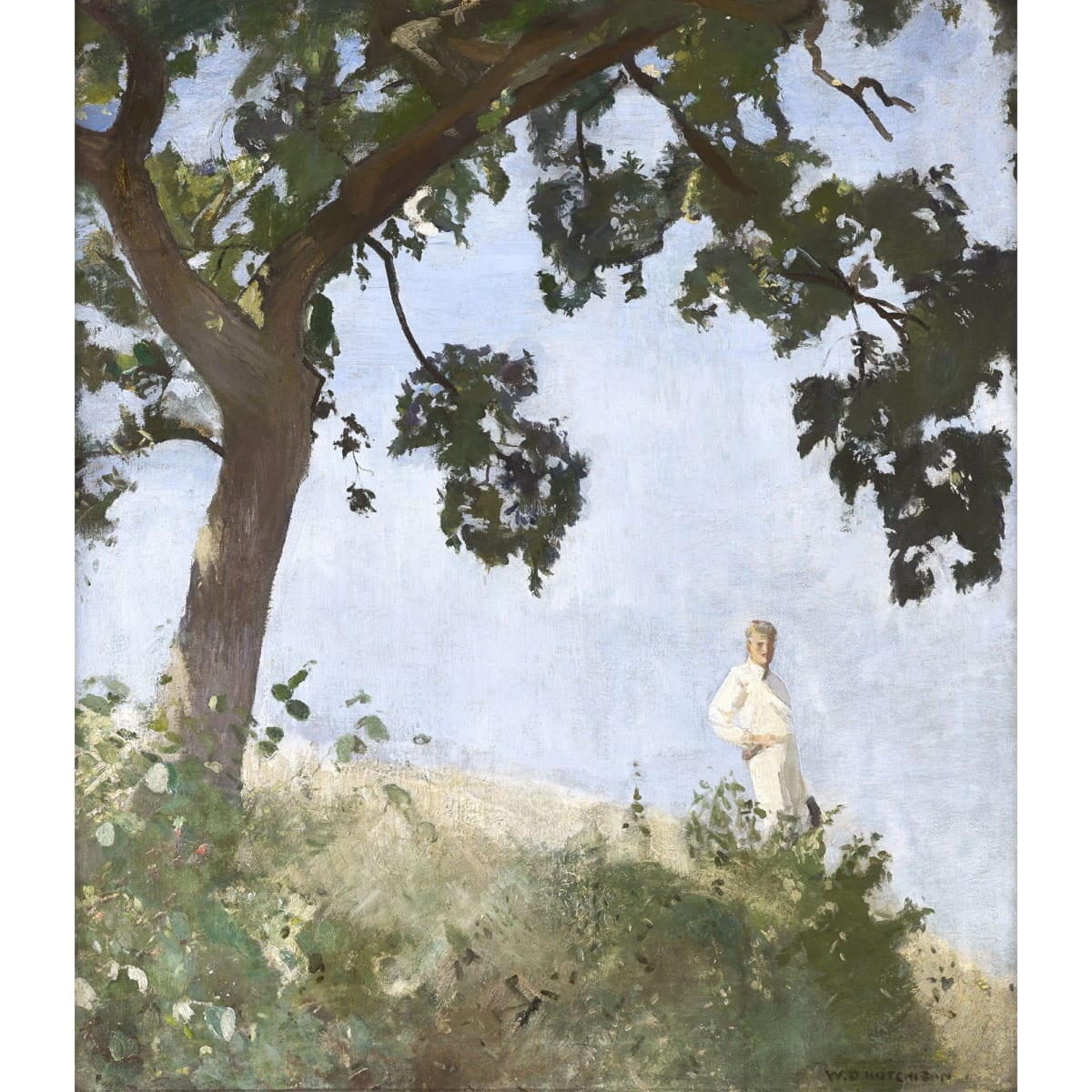 Sir William Oliphant Hutchison Arthur Walton Under the Oak Tree, 1914 signed; signed, dated 1914 and inscribed 'The Oak' on board verso oil on canvas laid on board 36 x 32 inches