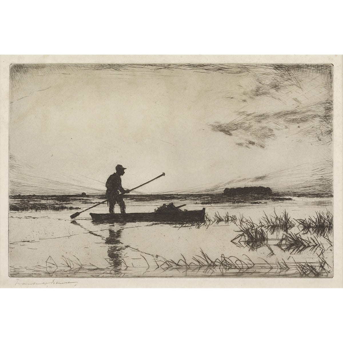 Frank Weston Benson The Punter signed in pencil to margin etching 7 3/4 x 11 1/2 inches