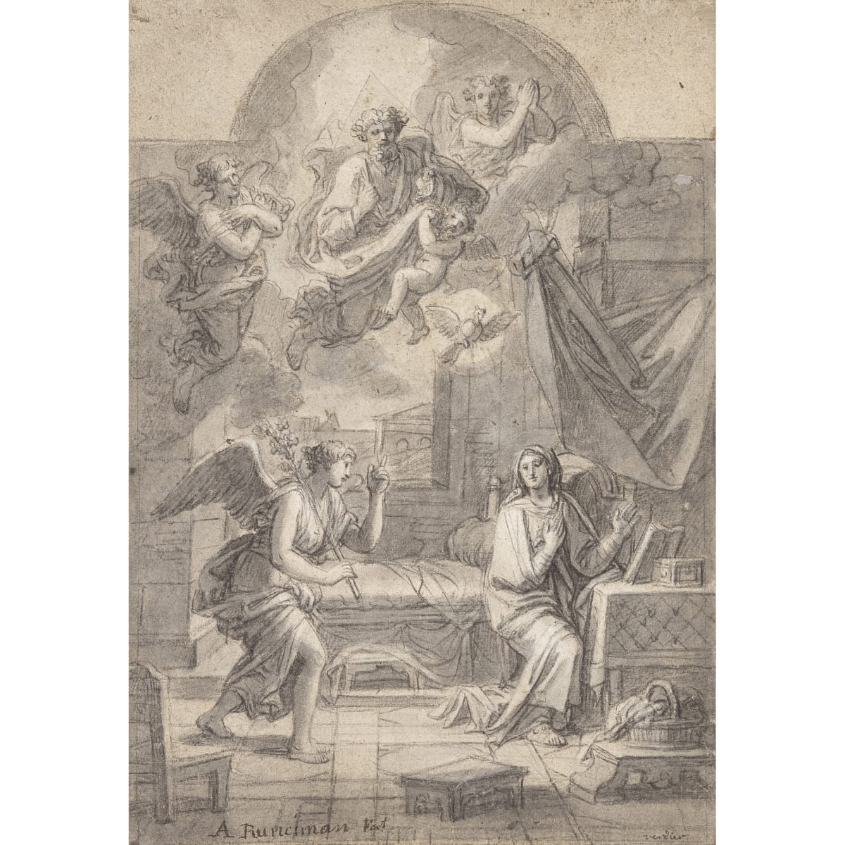 Alexander Runciman The Annunciation, a study for an altarpiece, after François Verdier (1651-1730) signed 'A Runciman Fec' and inscribed 'Verdier' pencil and grey wash 14 x 9 3/4 inches