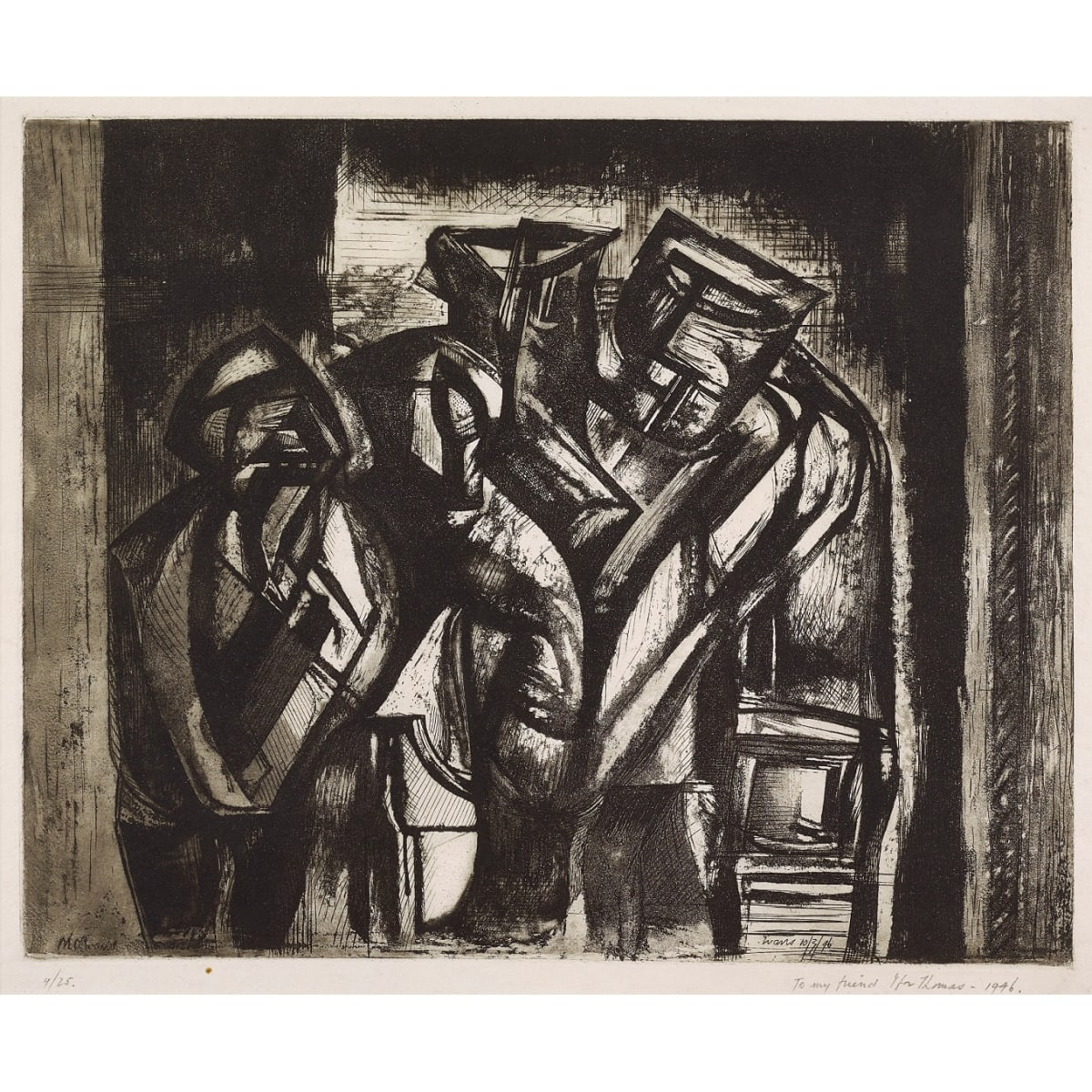 Merlyn Oliver Evans The Miners, 1946 signed and dated 10/3/46 in plate; numbered 9/25 and inscribed 'to my friend Ifor Thomas - 1946' in pencil to margin etching 12 1/2 x 15 3/4 inches