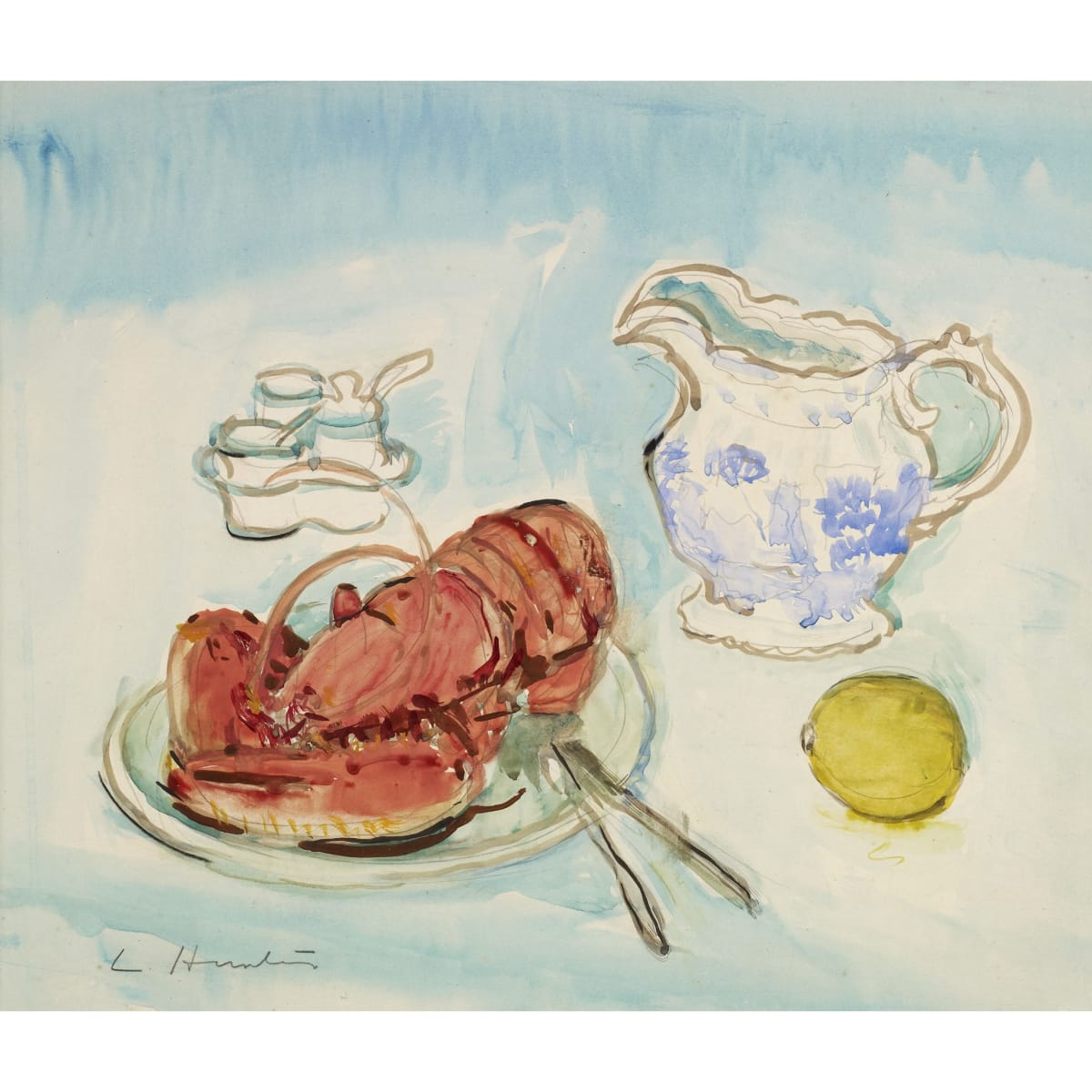 George Leslie Hunter Still Life with Lobster, 1928 1928; signed watercolour 12 3/4 x 14 3/4 inches