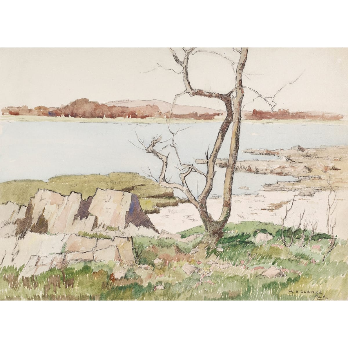 William Hanna Clarke Estuary - the Dee, 1923 signed and dated 1923 watercolour 11 x 15 1/4 inches