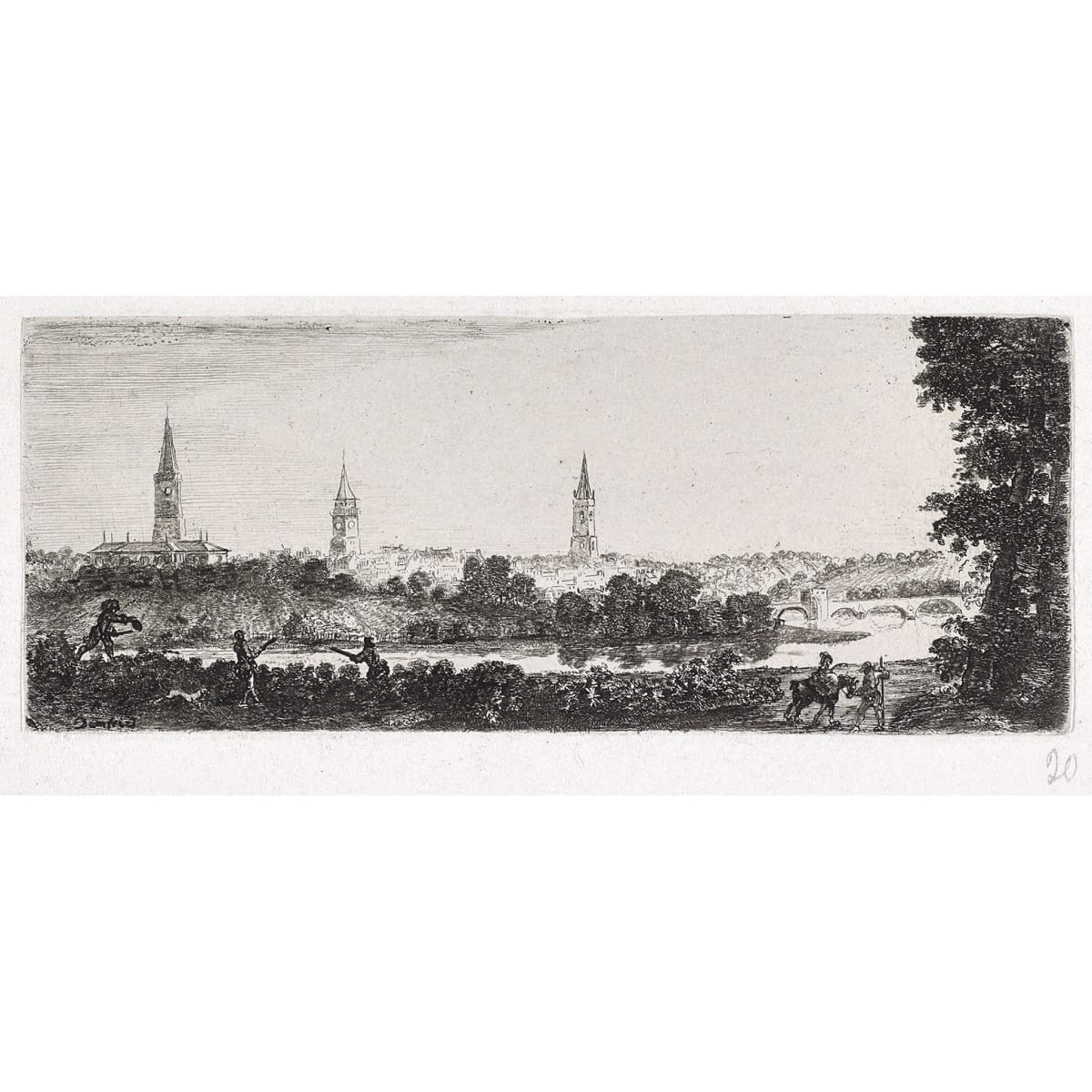 John Clerk of Eldin Dumfries titled in plate etching and drypoint 3 1/4 x 8 inches Fifth state
