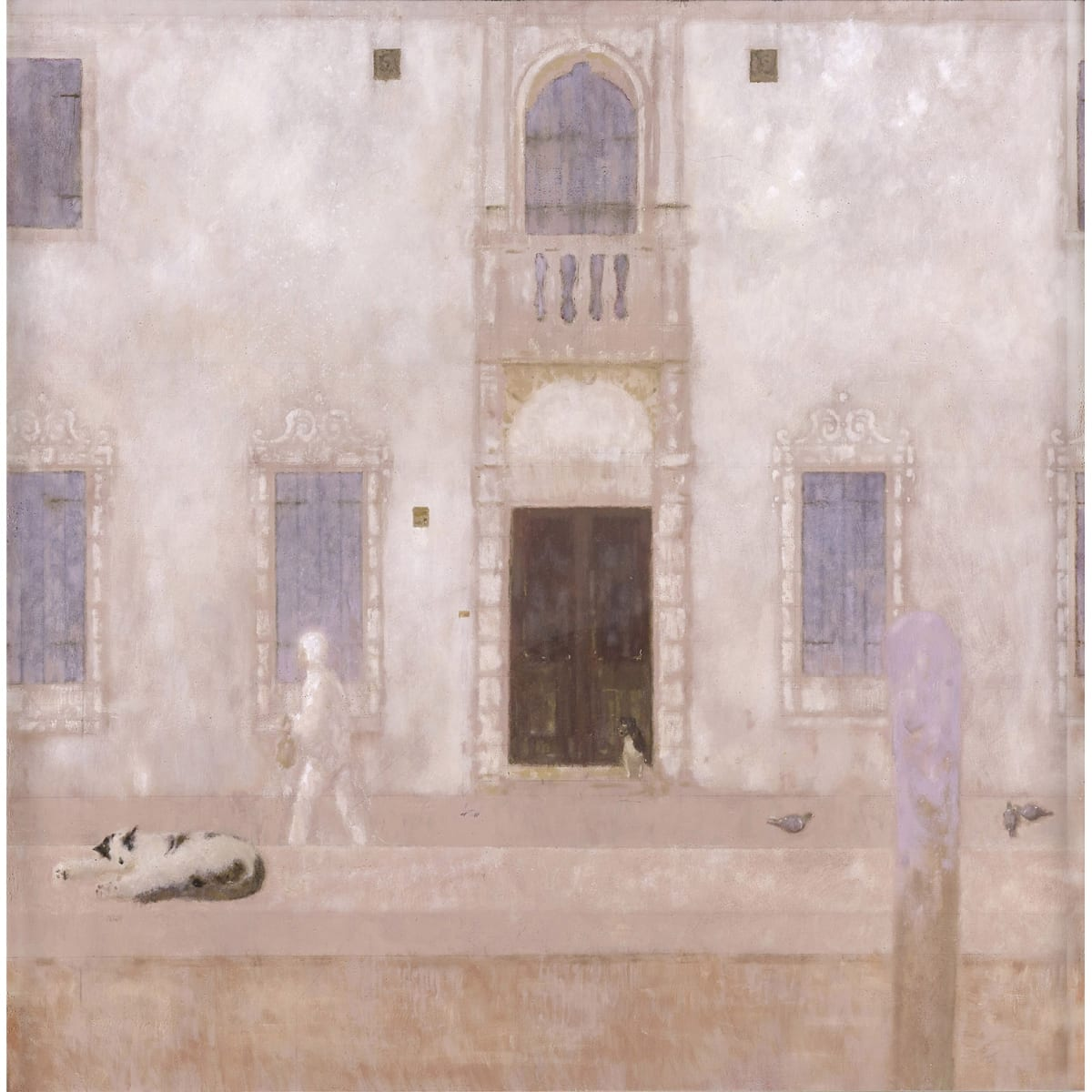John Halliday The White Jogger, Venice, c2000 signed on frame verso oil on canvas laid on board 40 x 40 inches