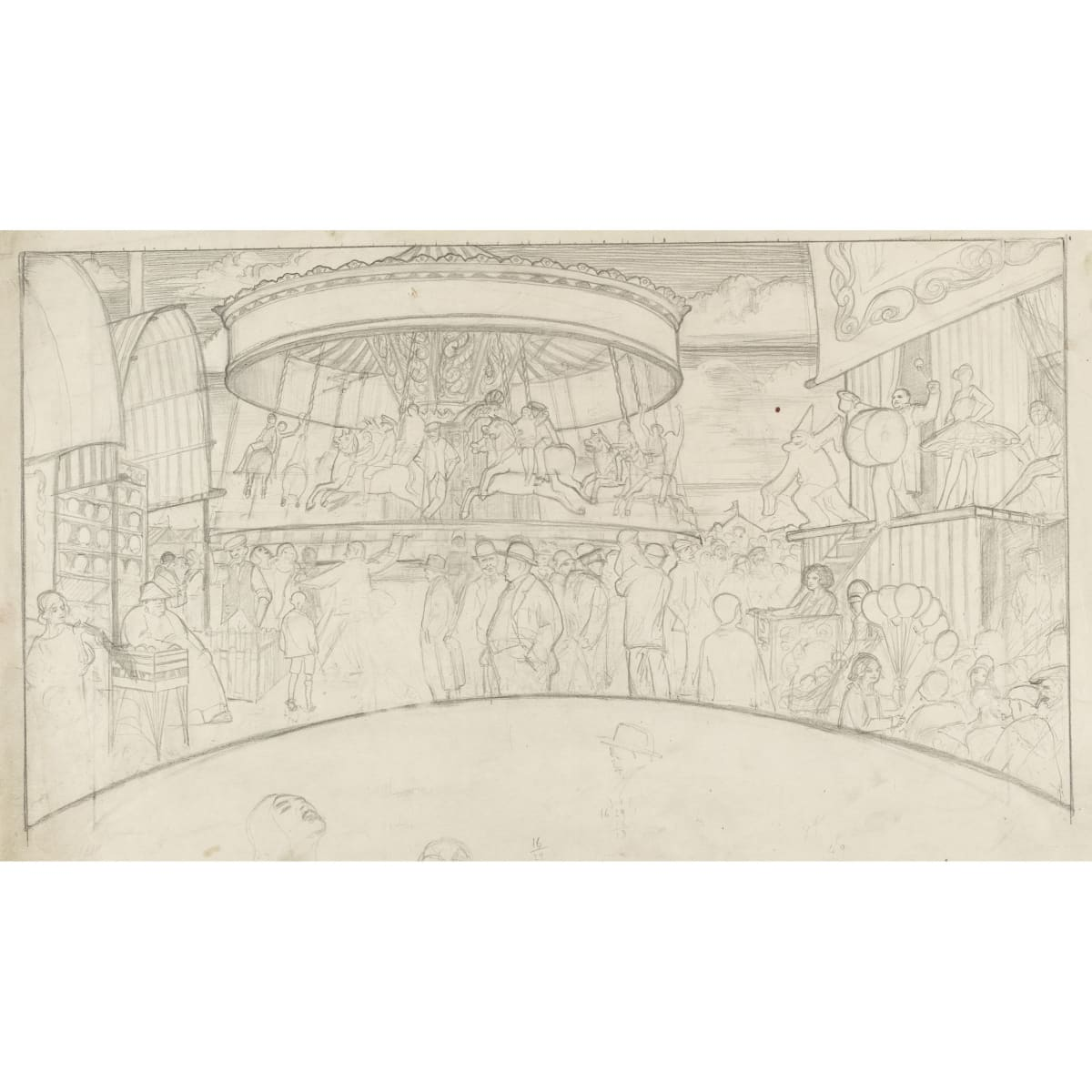 Sir William Oliphant Hutchison Bemax / The Fairground pencil 15 x 22 inches