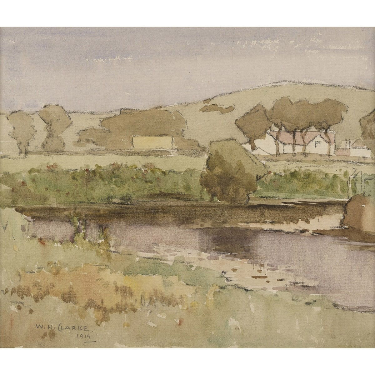 William Hanna Clarke A Galloway Landscape, 1919 signed and dated 1919 watercolour 9 3/4 x 11 1/2 inches