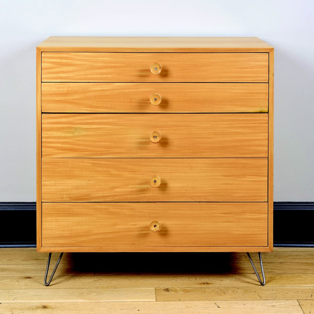 George Nelson 'Cup Cake' chest of drawers combed oak with walnut inlay 18 1/2 x 40 x 40 inches