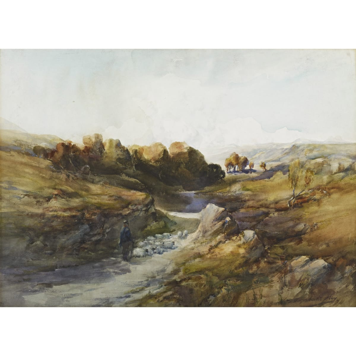 Thomas Marjoribanks Hay The old coach road, Oban signed and titled verso watercolour on paper laid on board 22 x 30 inches