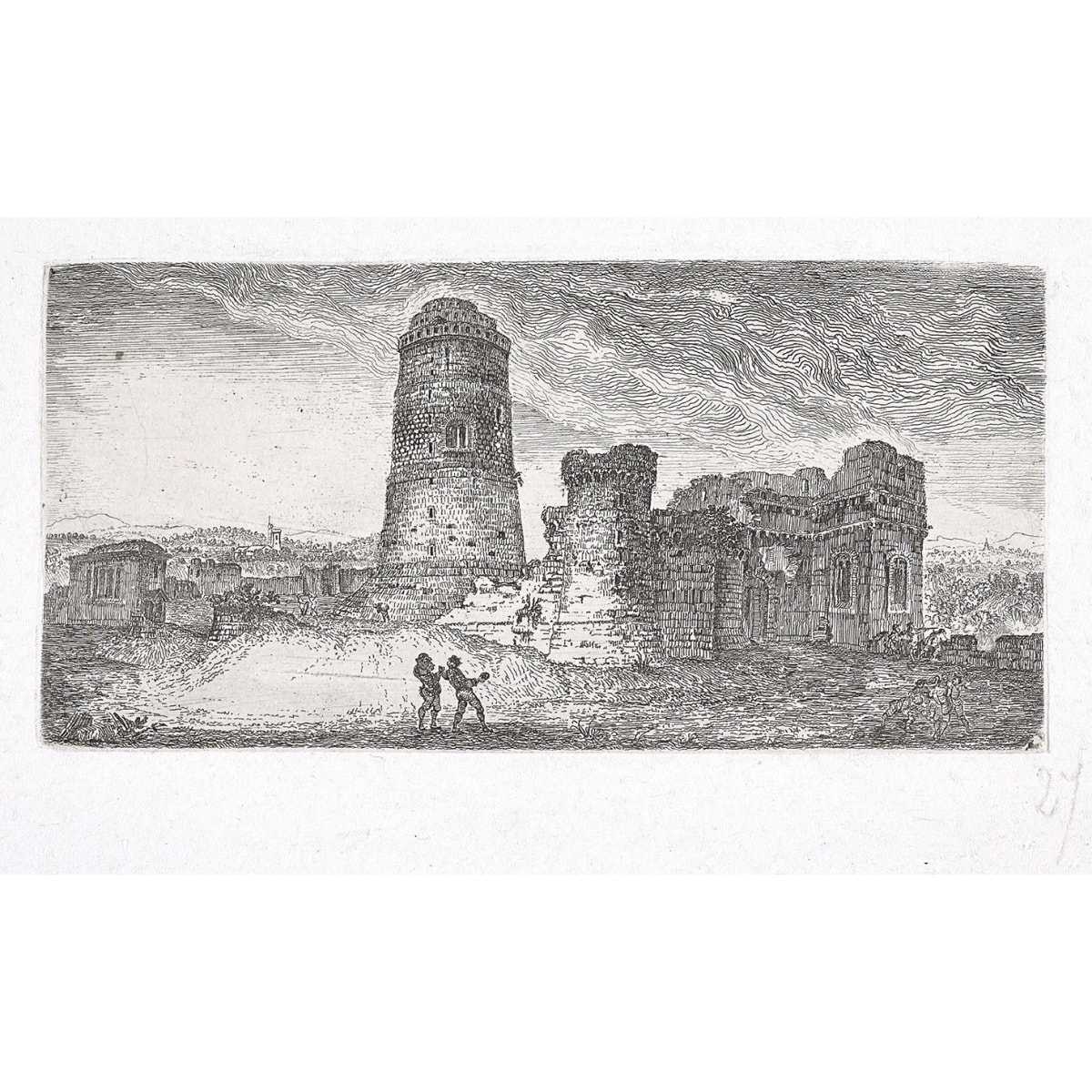 John Clerk of Eldin Tower at Pembroke Castle etching 3 x 6 1/4 inches only state