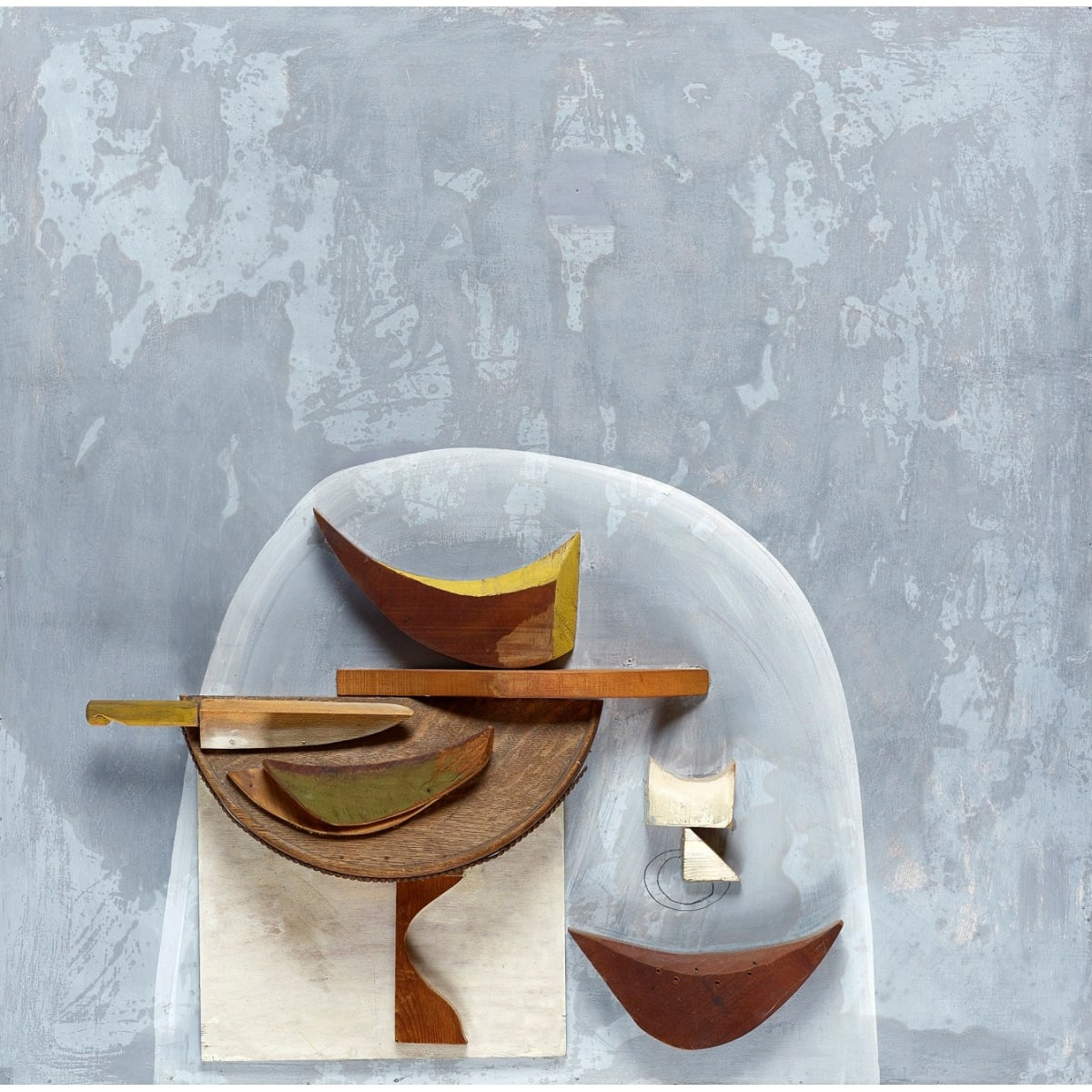 Alberto Morrocco Still Life with Melon, c.1968 signed and titled on label verso wood relief and gesso paint on board 36 1/2 x 36 inches