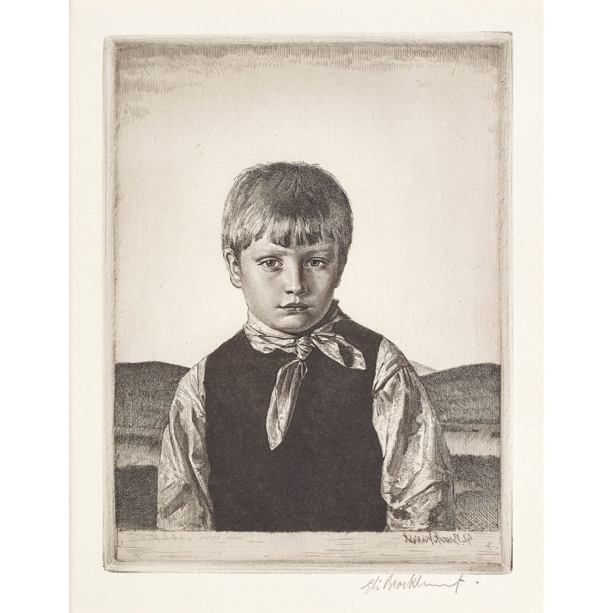 Gerald Leslie Brockhurst Amberley Boy no.2, 1928 signed and dated 1928 in plate; signed in pencil to margin etching plate size: 7 1/2 x 5 3/4 inches from the only published edition of 111 signed proofs in the final state (137 impressions in all)