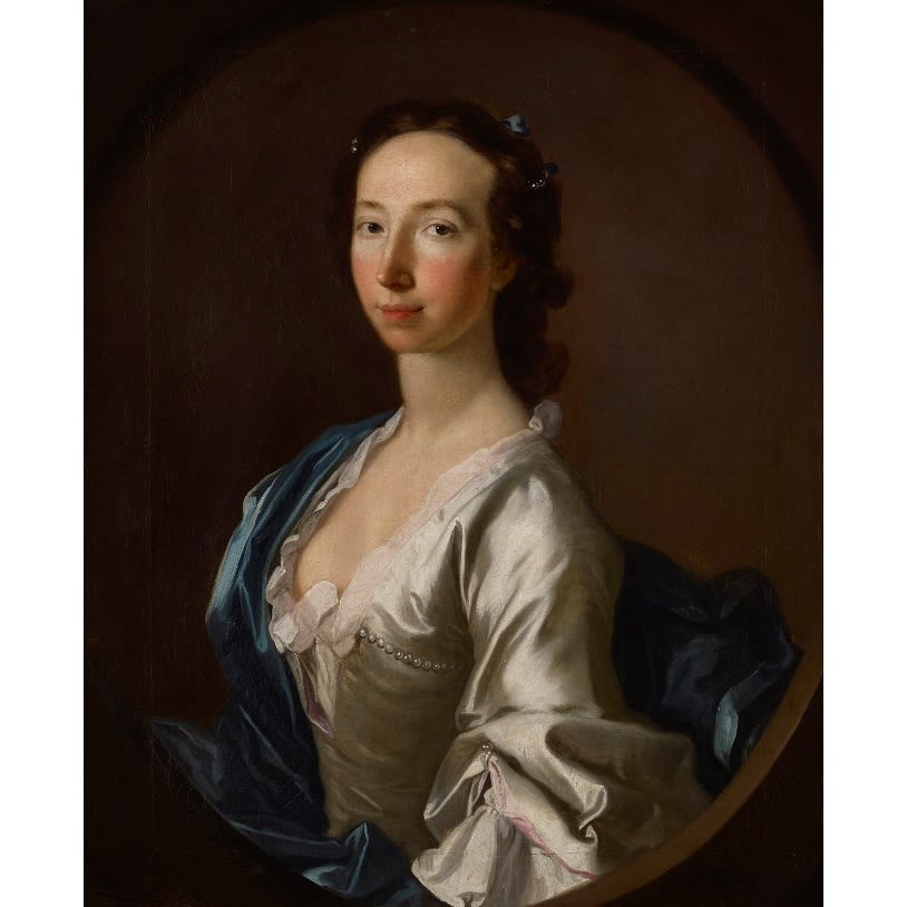 Allan Ramsay Portrait of a Young Lady signed oil on canvas 30 x 24 1/2 inches