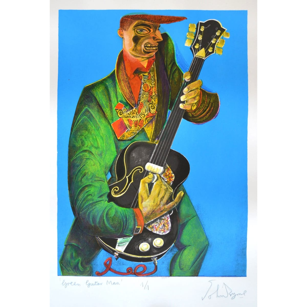 John Byrne Green Guitar Man, 2019 signed, titled and numbered 1/1 in pencil to margin hand coloured lithograph 26 3/4 x 18 3/4 inches