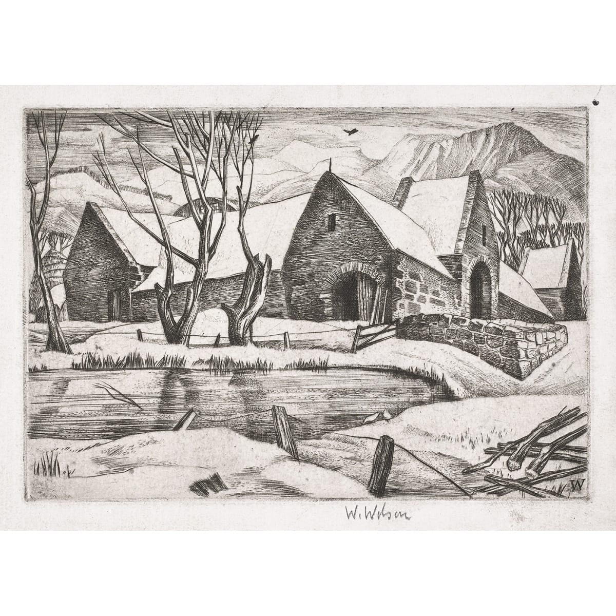 William Wilson Swanston Farm, 1937 monogrammed in plate; signed in pencil to margin, titled in pencil to sheet etching 5 3/4 x 4 inches Christmas greeting card, 1937 - inside reads 'with best wishes for Christmas and New Year. from Willie Wilson'