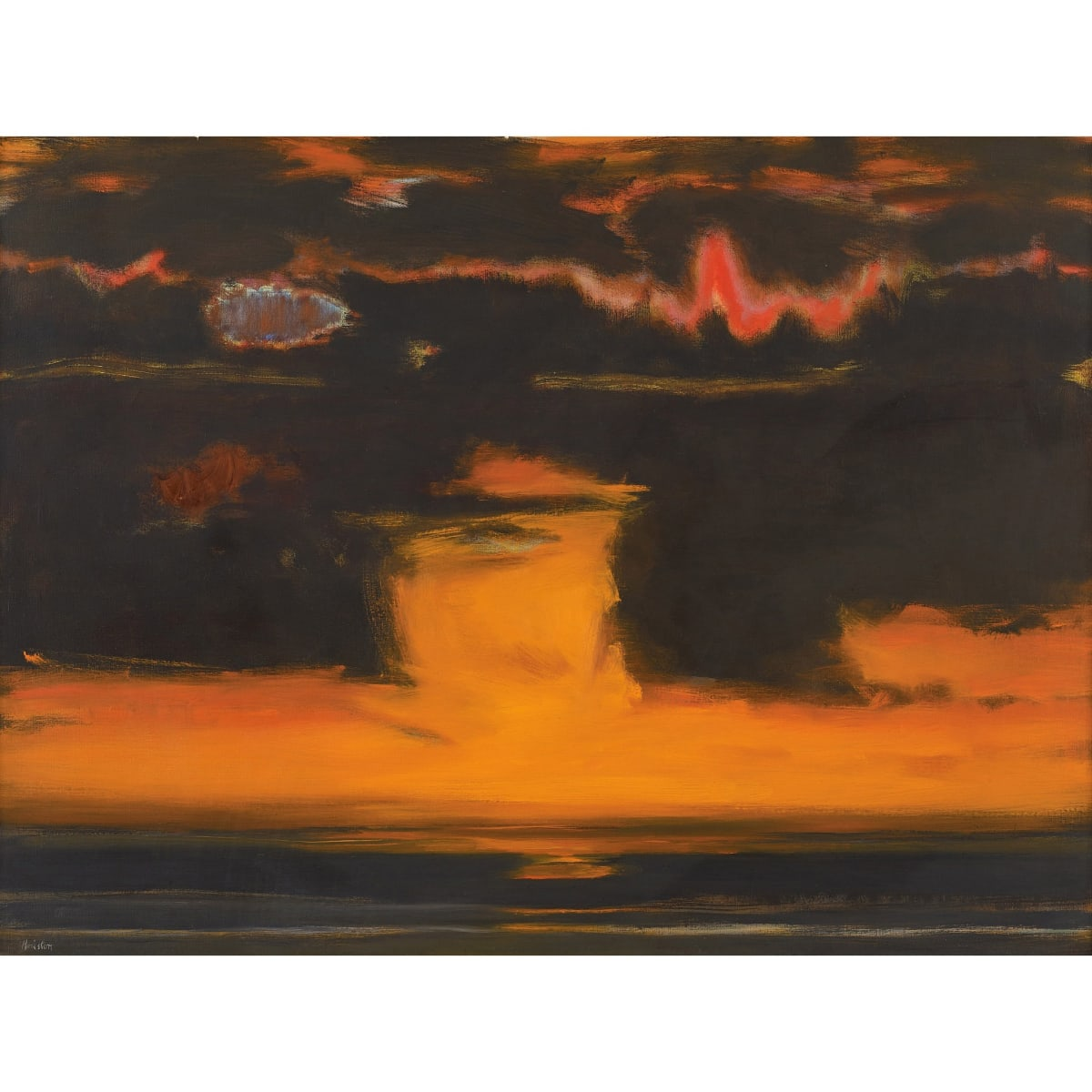 John Houston Sunset over the sea, Harris, 1975 signed; signed, titled and dated 1975 on stretcher verso oil on canvas 30 x 40 inches