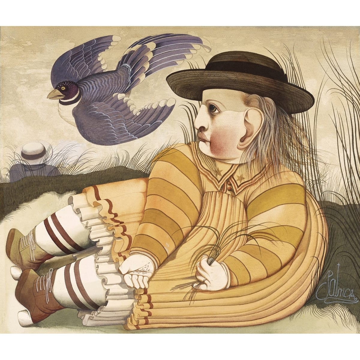 John Byrne Girl with Blackbird, c.1968-69 signed 'Patrick' watercolour and gouache 16 1/2 x 19 inches