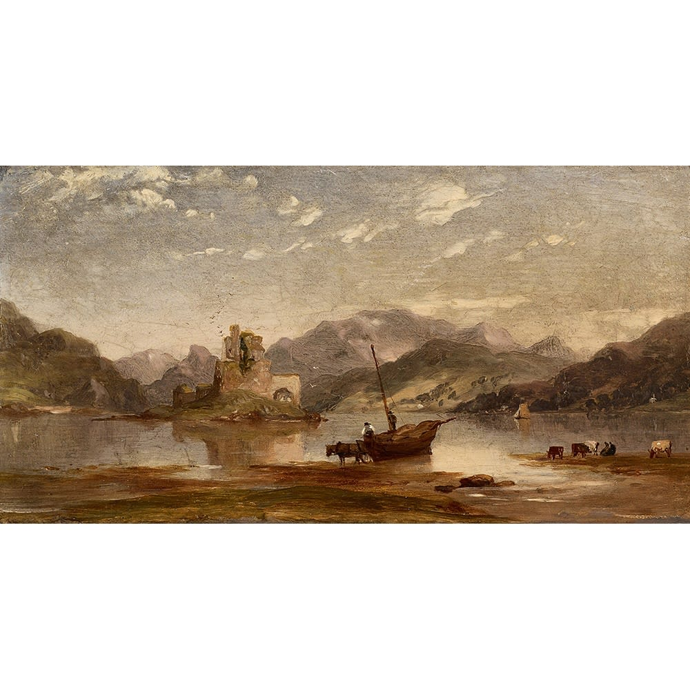John Williams Ellandonnan Castle, Kintail, Ross-shire signed, titled and dated 1862 on panel verso oil on panel 4 x 7 3/4 inches