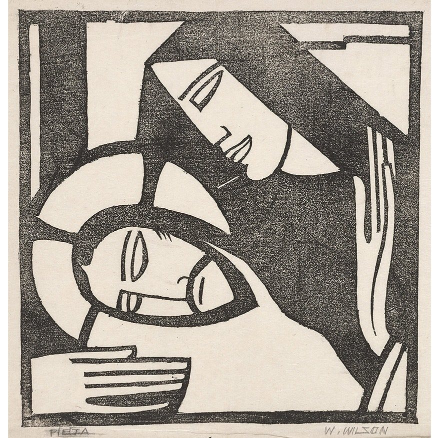 William Wilson Pieta signed and titled in pencil to margin linocut 8 1/2 x 8 1/2 inches