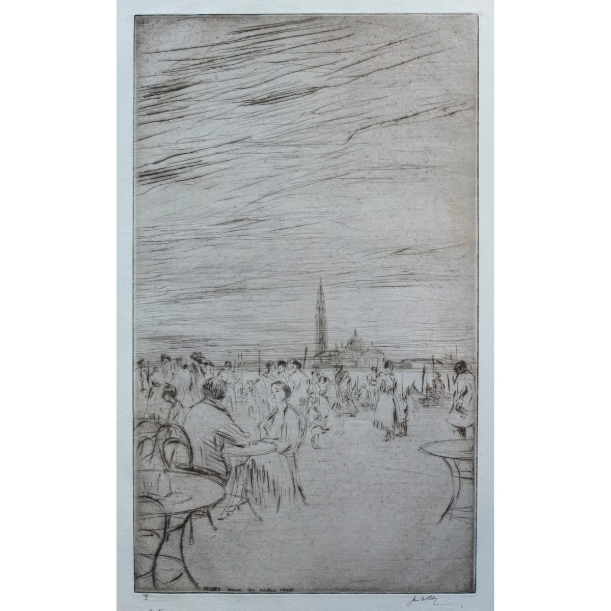 James McBey The Riva at dusk, 1925 signed, titled 'Venice' and dated 20 October 1925 in plate; signed and numbered LII in pencil to margin etching and drypoint plate size: 15 3/4 x 9 1/4 inches; sheet size: 17 1/2 x 11 3/4 inches edition of 80