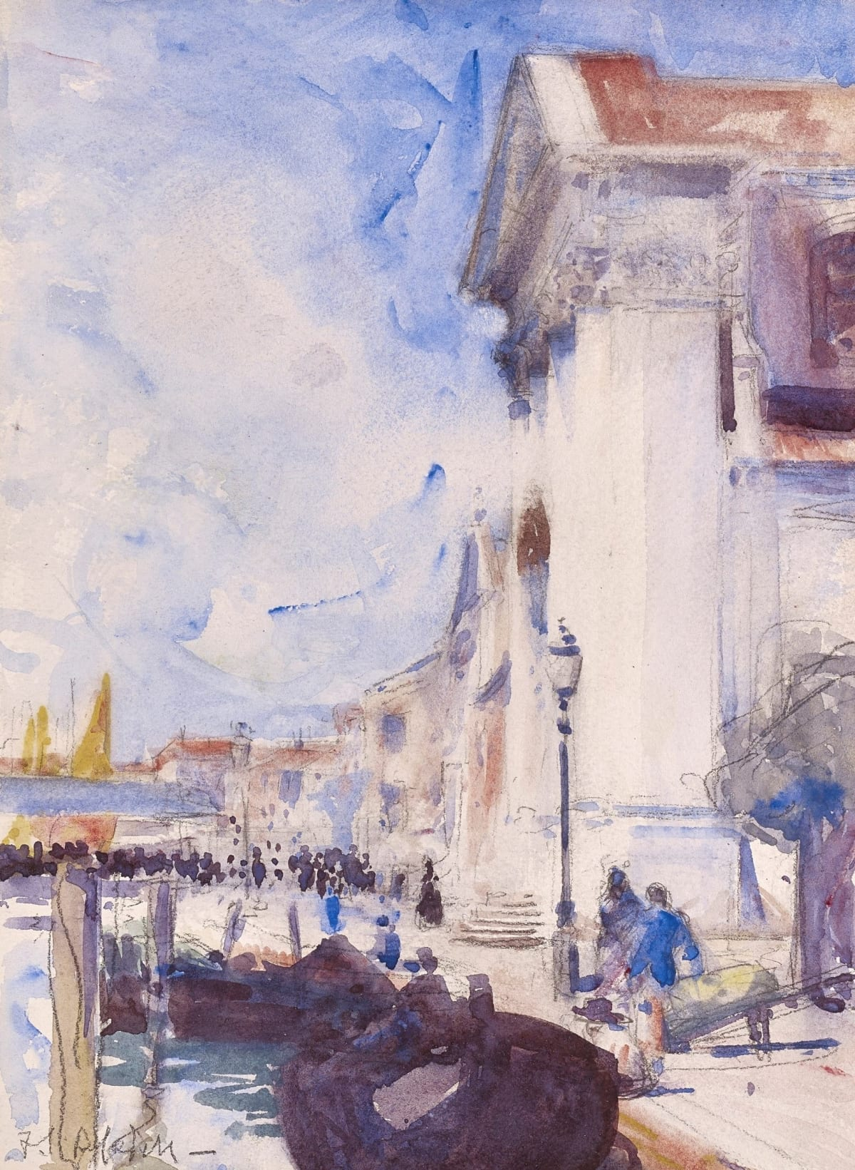 Francis Campbell Boileau Cadell The Jesuati, Venice, 1910 signed pencil and wash 12 x 9 inches