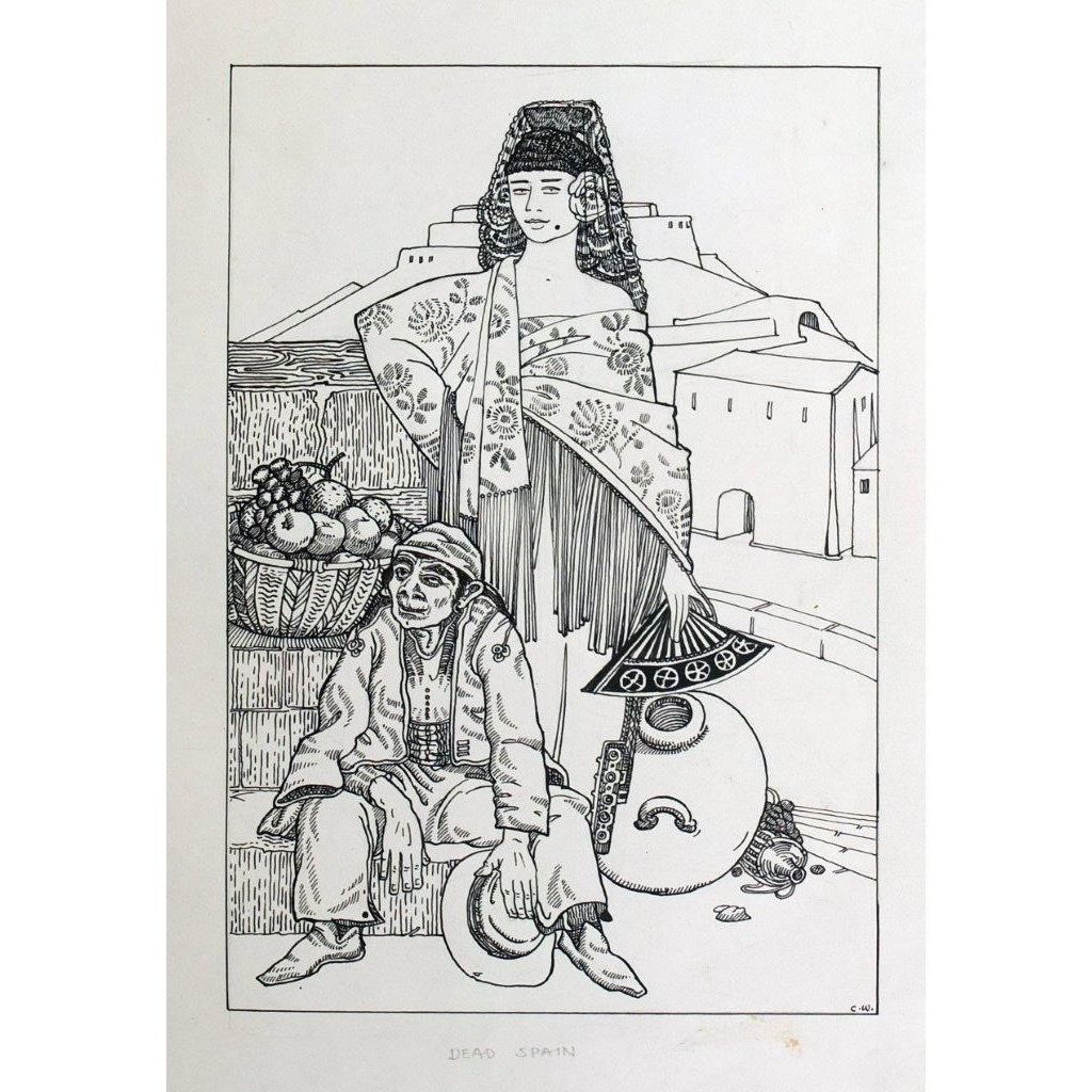 Cecile Walton Dead Spain titled in pencil and initialled CW pencil, pen and ink 8 x 5 1/2 inches