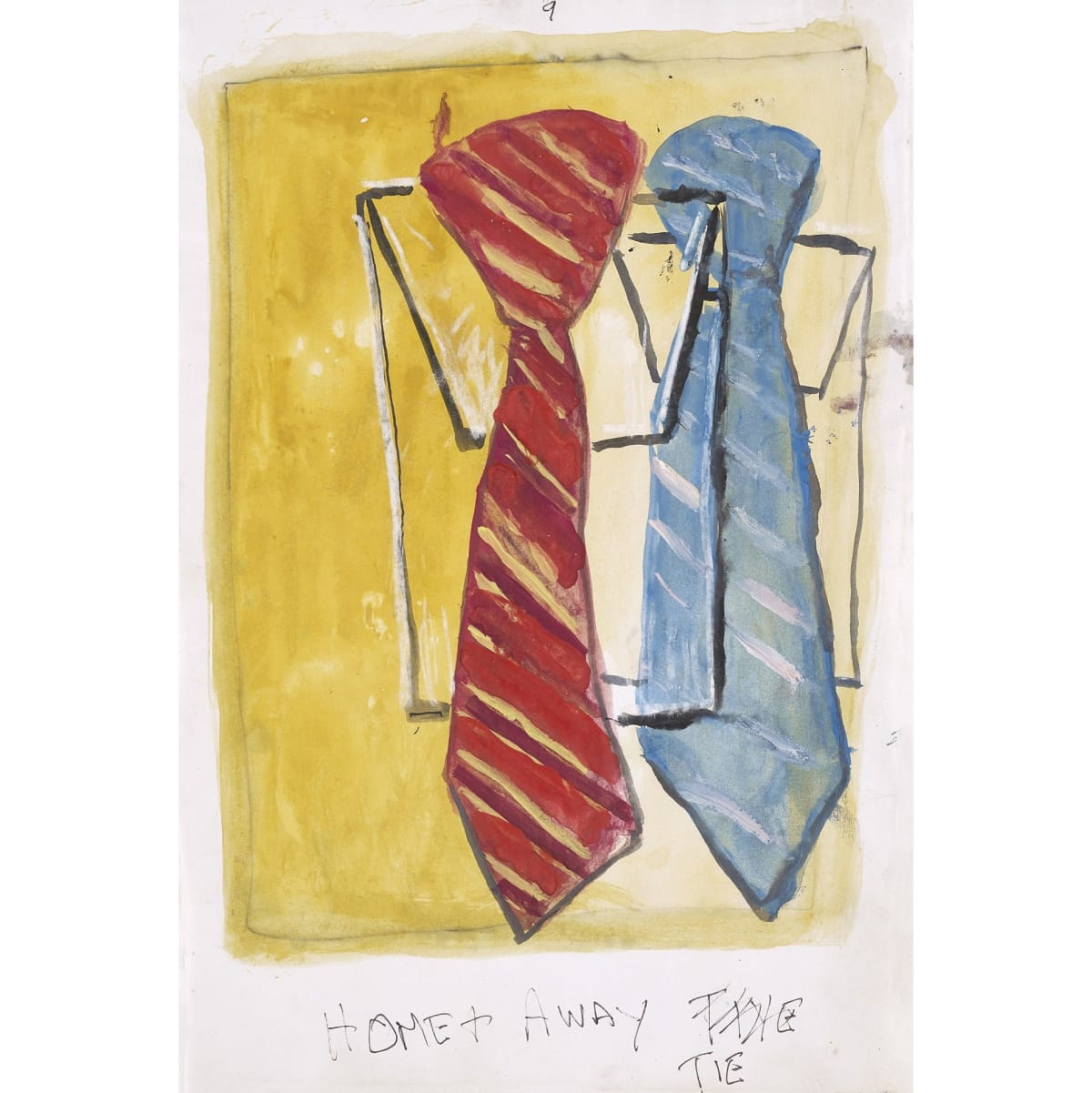 Steven Campbell Home + Away Tie inscribed with title in pencil watercolour and ink on paper 29.2 x 19 cm
