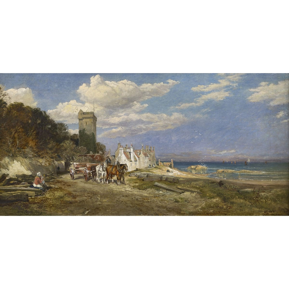 Sam Bough Dysart Castle, 1863 signed and dated 1863 oil on canvas 14 x 28 inches