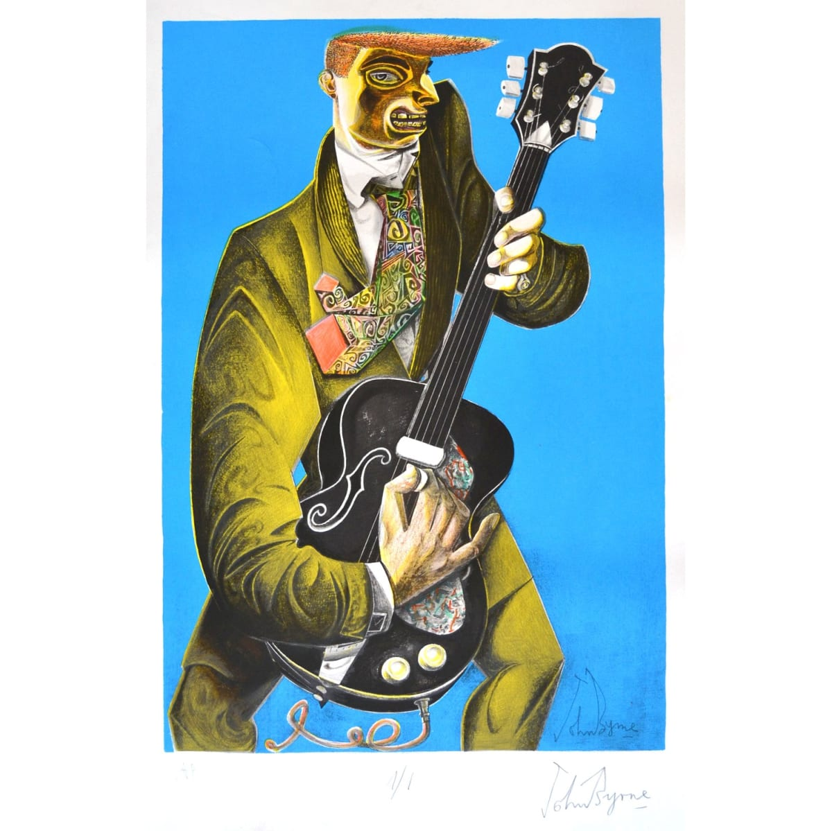 John Byrne A/P, 2019 signed, titled and numbered 1/1 in pencil to margin hand coloured lithograph 26 3/4 x 18 3/4 inches