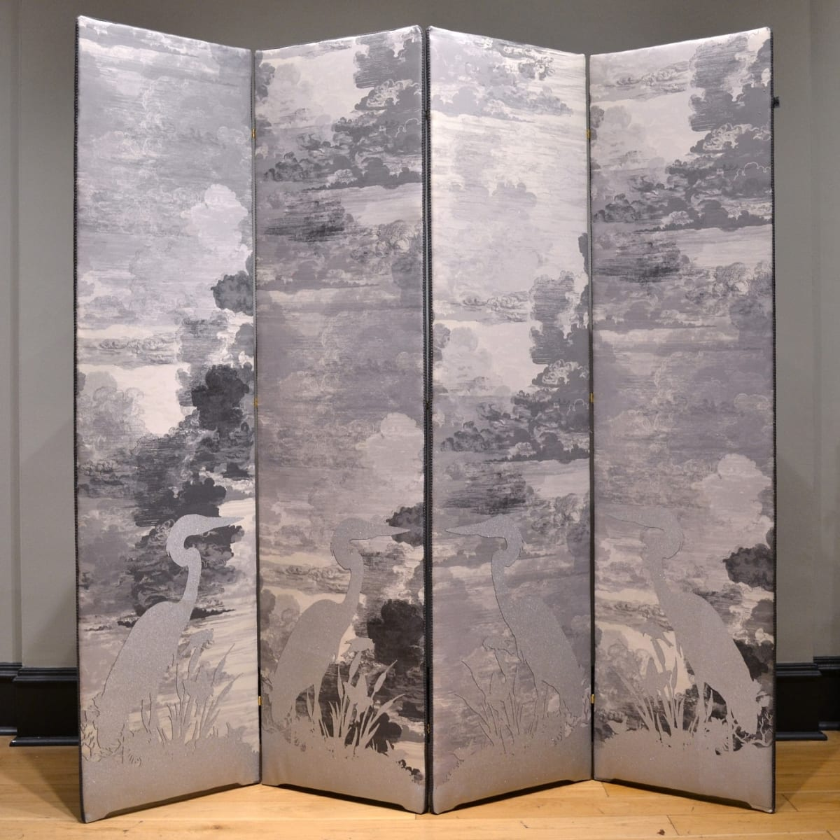 Timorous Beasties Grey Heron / Bee Eater Flock, 2019 folding screen upholstered in Cloud Toile fabric with one-off screen print design 183 x 188 cm (4 panels, 47 cm width each)