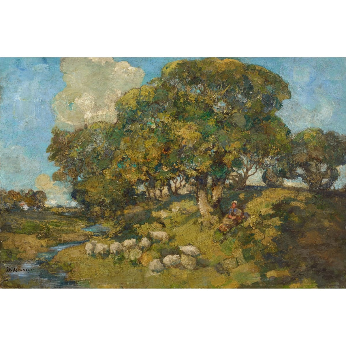 William Mouncey Autumn Landscape signed; signed and inscribed with title on stretcher verso oil on canvas 16 x 24 inches