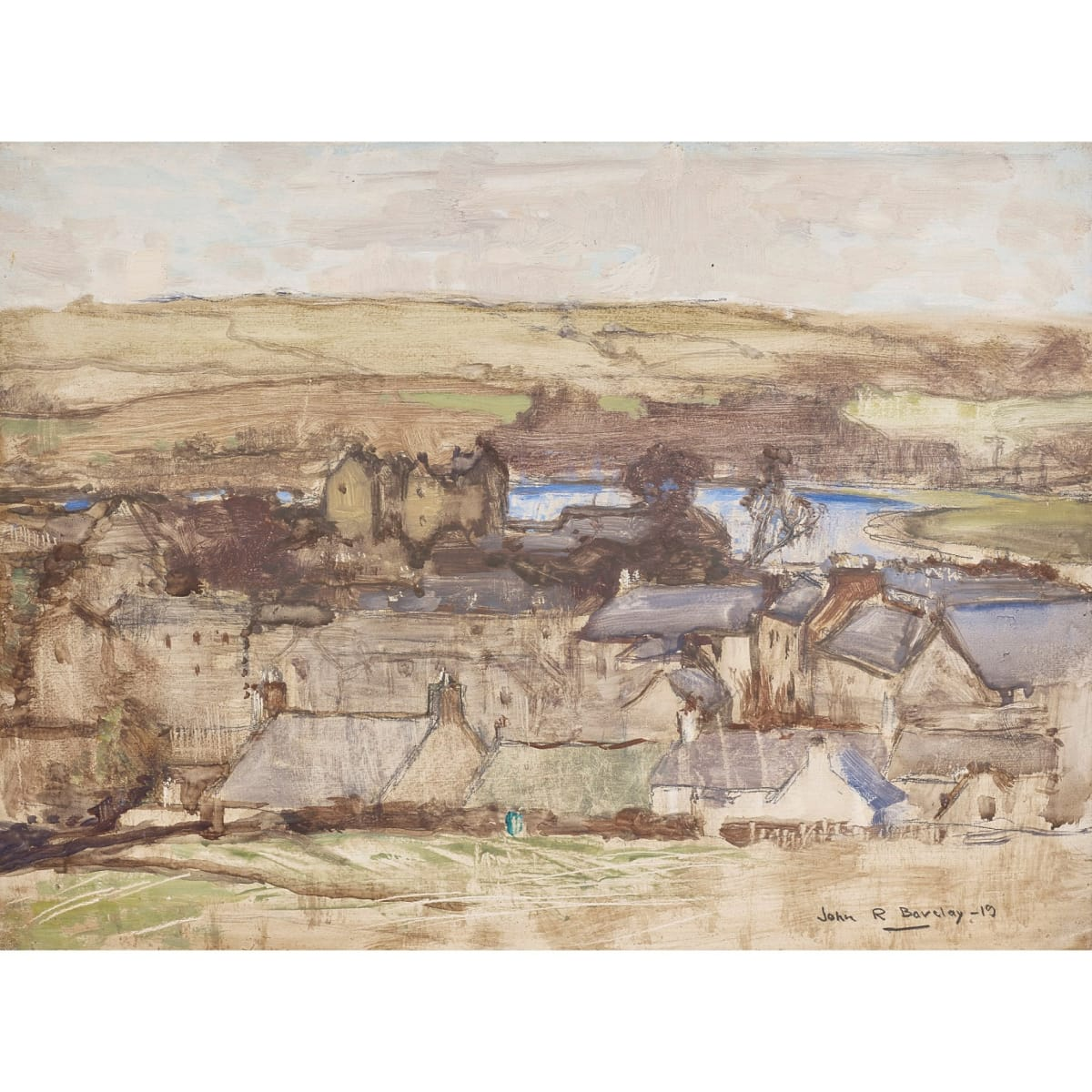 John Rankine Barclay Kirkcudbright signed and dated '19 oil on panel 9 x 12 inches