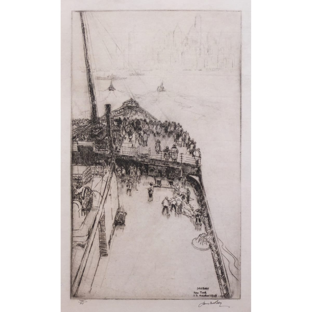 James McBey Approaching New York, No. 2, 1934 signed and inscribed 'New York, 22 October 1929 in plate; signed and numbered LIII in ink, titled and inscribed 80 proofs in pencil to margin
