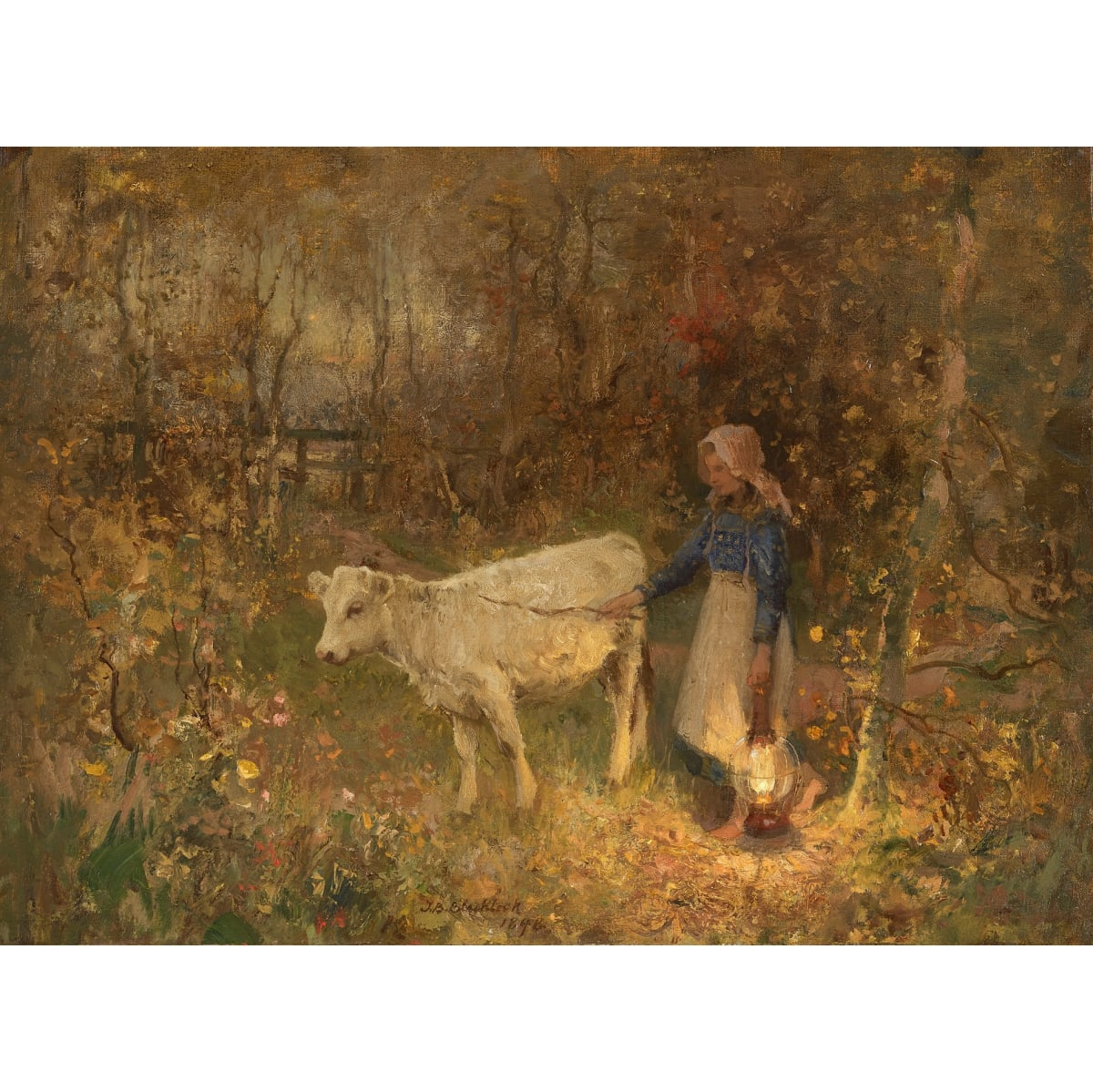 Thomas Bromley Blacklock The Stray Calf, 1896 signed and dated 1896 oil on canvas 16 1/2 x 22 1/4 inches